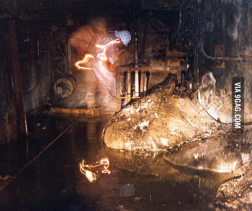 The most dangerous photo, taken under the Chernobyl nuclear reactor after the meltdown.