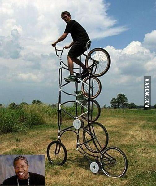 A 6-wheeled bicycle.