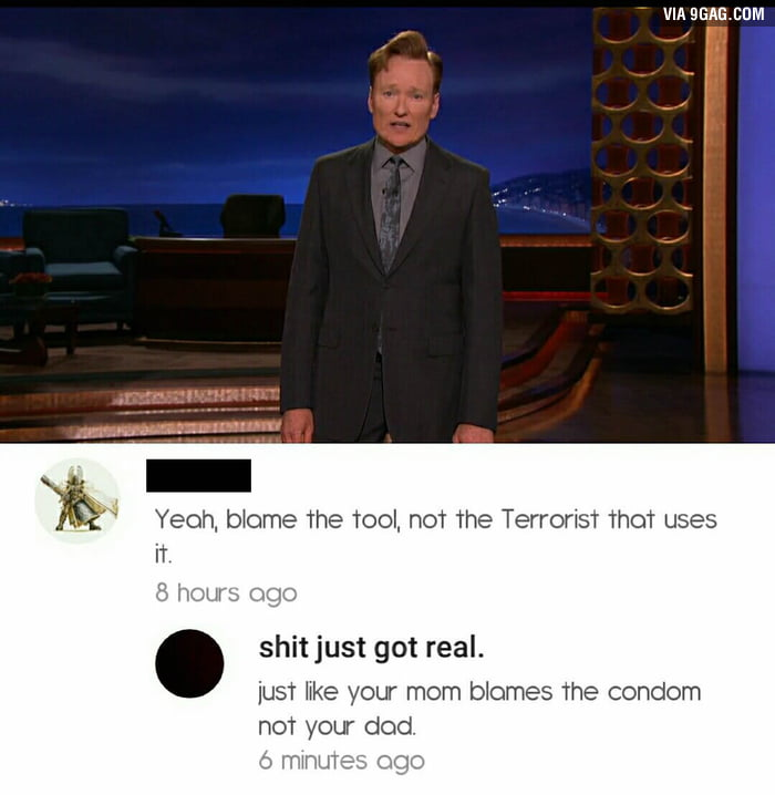 Conan was addressing the recent shooting at the gay club in Orlando and stated that GUNS shouldn't be available to everyone.