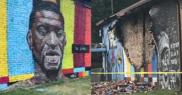 God charged with hate crime after Floyd Memorial destroyed by lightning.