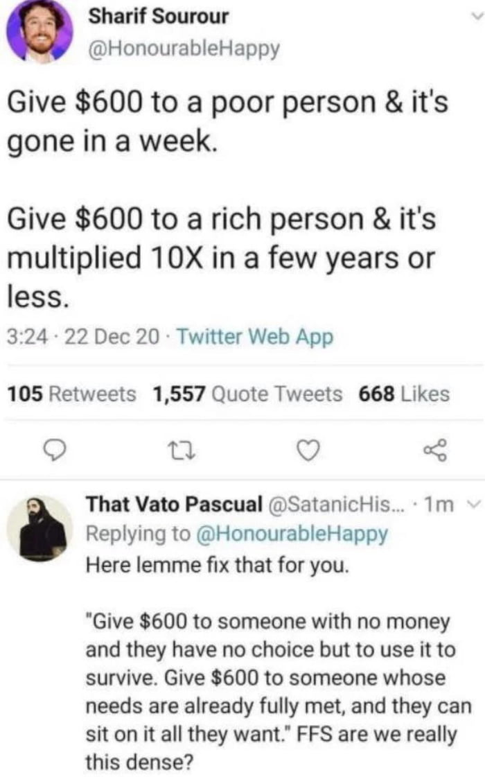 Privileged people just don't understand how poverty works! It's almost like there is a class war going on.