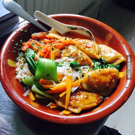 Phusion Pho Vietnamese Chicken Pho Chinese Chicken Potstickers Spicy Korean Kimchi 9gag