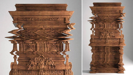 """Awesome A cabinet titled """"Good Vibrations"""" devised by Ferruccio Laviani to resemble a digital glitch"""