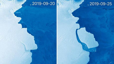 315 billion-tonne iceberg just broke off of Antarctica (1,636 sq km in area)