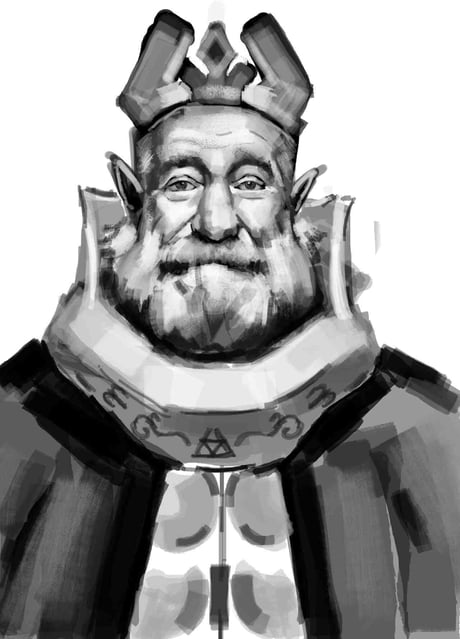 Robin Williams drawn as the King of Hyrule