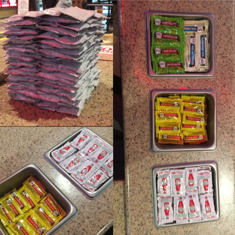 These condiments I stacked during my shift at a movie theater