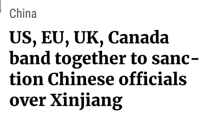 Finally the world band together over chinas alleged human rights abuses!