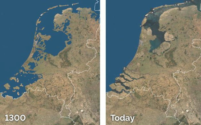 How the Dutch conquered their land on the water through the century's . Satellite pictures were quite good back then.