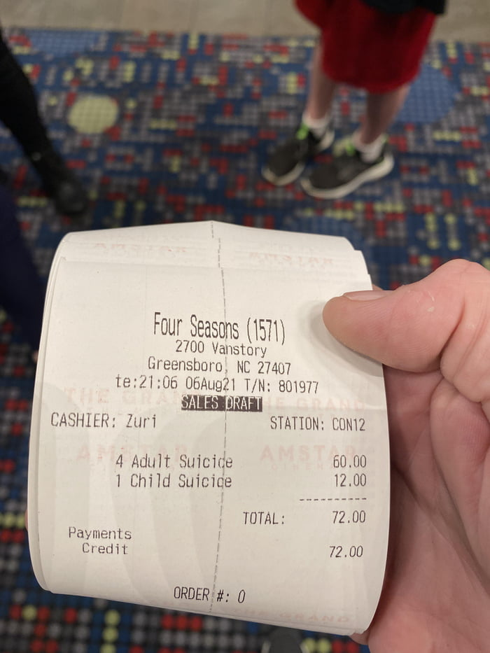 This receipt for the Suicide Squad movie