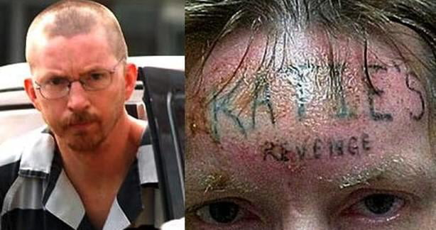 """When one of his inmates heard the story he tattooed """" Katie's Revenge """" on the rapist's forehead by force, This man raped then killed a 10 yrs old girl named Katie."""