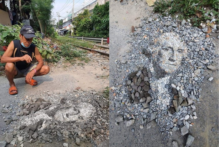 Guy in Vietnam made a portrait of George Washington from railroad stones and it rocks!