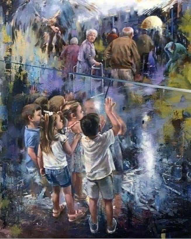 LllCovid-19: This painting was done in honor of all the departed grandparents who were unable to say goodbye to their grandchildren. Credits: Juan Lucena , Spanish painter