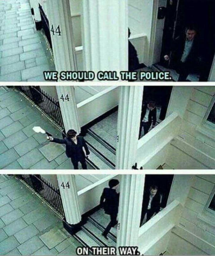 Sherlock way to call the police...