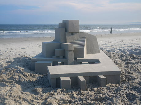 Sandcastle with extremely clean lines.