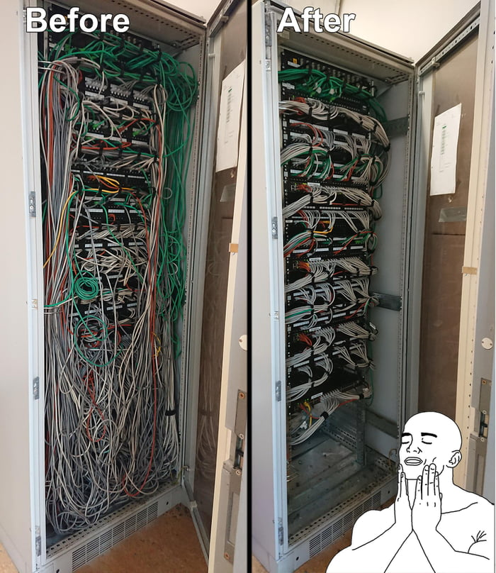 My job is a Network engineer, one of the tasks that I love to do is cleaning up messy wires and make it look good again. This took 24 hours of work to fix.