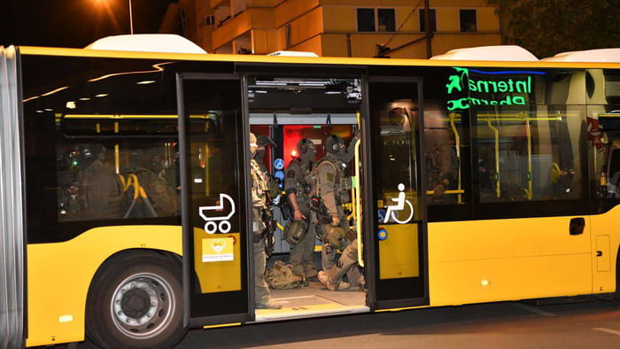 German special forces SEK used a regular city bus to sneak up on an illegal gambling ring last night in Berlin