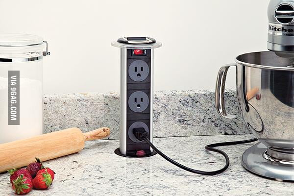 This kitchen counter has a clever pop-up outlet