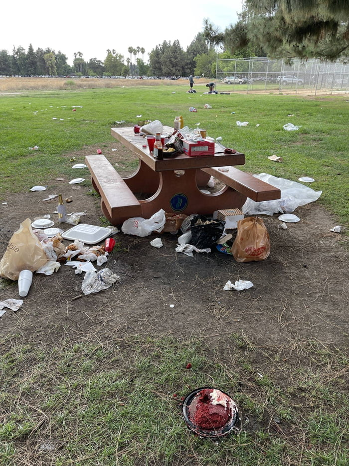 If you leave public park tables like this, you're a piece of shit
