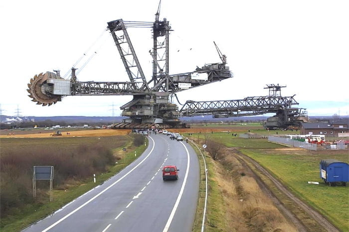This thing on the horizon is the German Bagger 288 – an excavator that stands 96 meters tall, is 240 meters long and weighs 13 000 tons. Built in 1978, it's the largest land vehicle in existence.