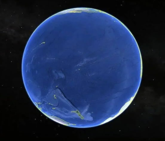 This is what earth looks like 15° - 145°. (center of the Pacific ocean)