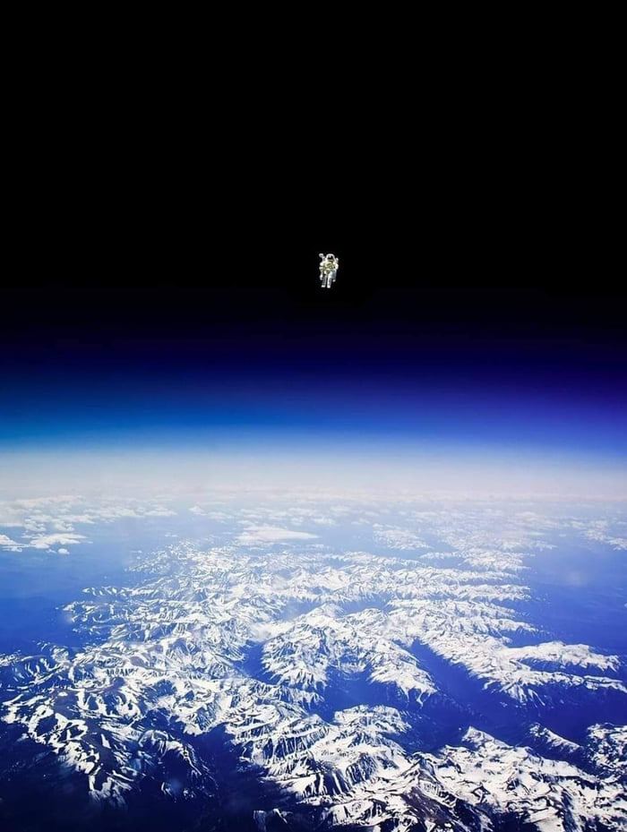 Perhaps the most-terrifying space photograph around. Astronaut Bruce McCandless II floats untethered away from the safety of the space shuttle, with nothing but his Manned Maneuvering Unit keeping him alive. The first person in history to do so. Credit: NASA