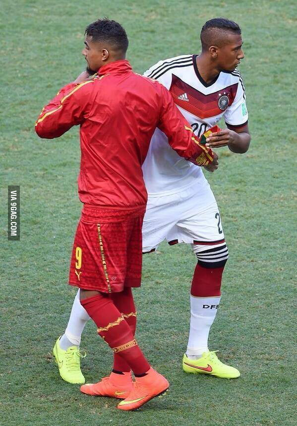 Kevin-Prince Boateng and Jerome Boateng, two brothers playing for different nations at the World Cup (Ghana & Germany)