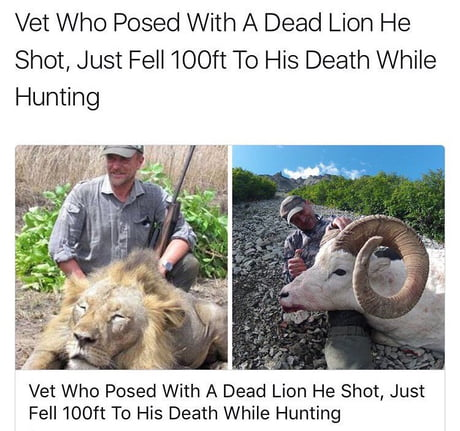 Vet Who Posed With A Dead Lion He Shot, Just Fell 100ft To His Death While Hunting