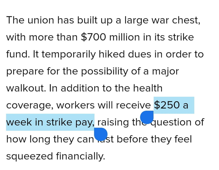 That union has enough to pay every member $14k for the walkout. The only difference between a union boss and an employer is the employer earns his pay.