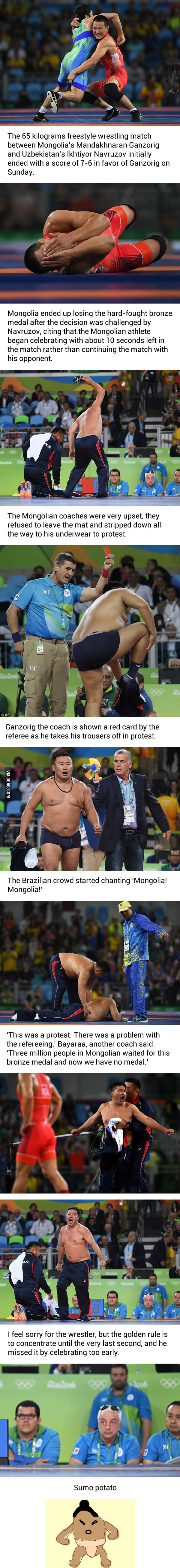 Mongolian Meltdown! Wrestling Coaches Tear Off Their Clothes To Protest Decision