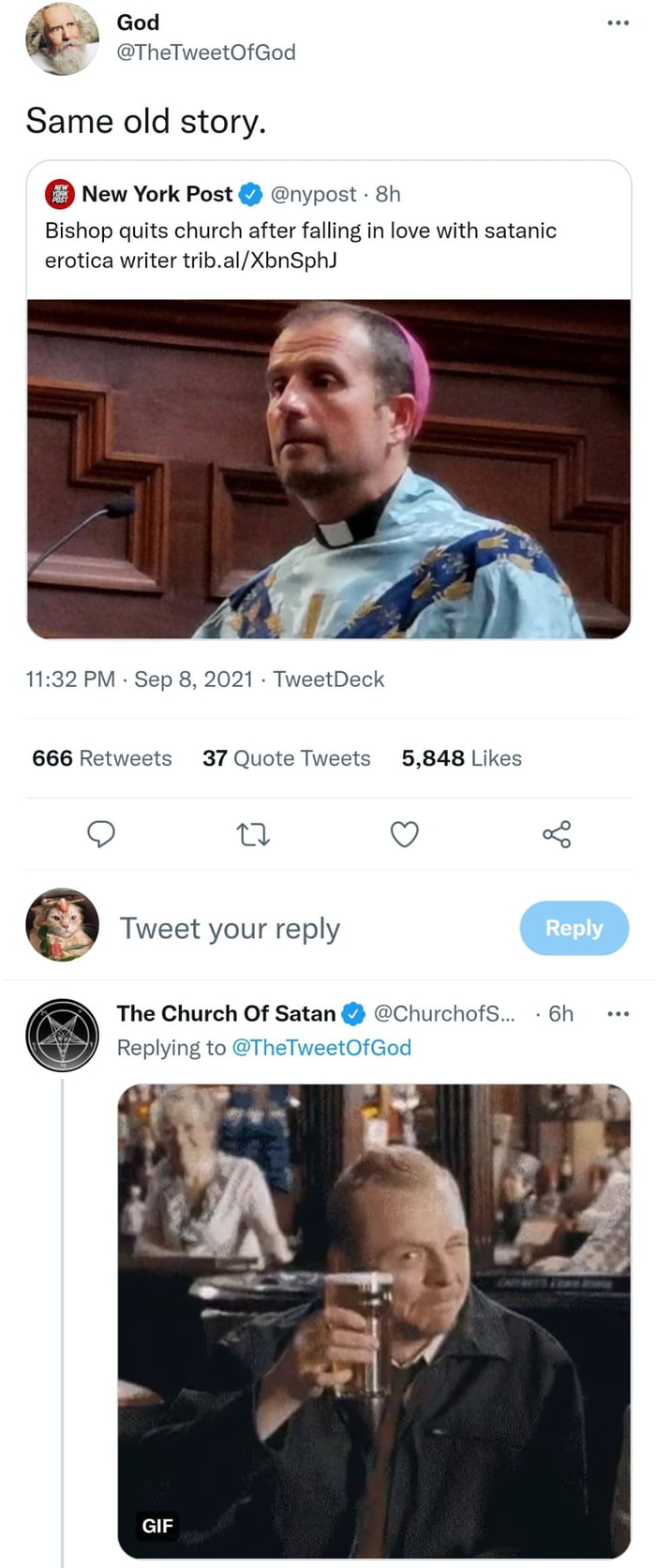 When God and Satan interact on Twitter