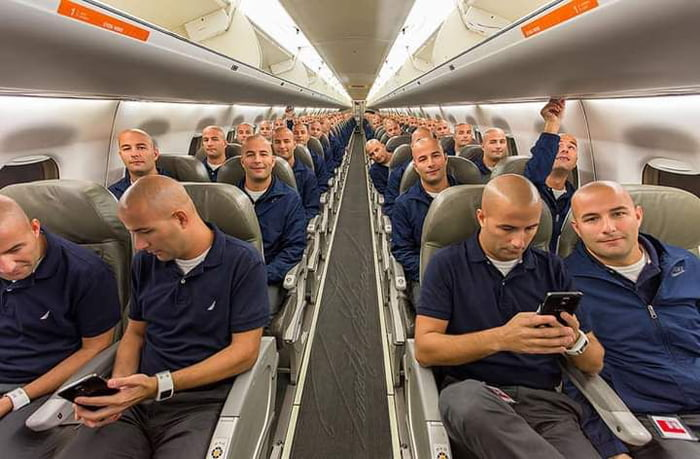 This guy found himself on an empty airplane so he took a picture of himself in every seat and photoshopped them together.