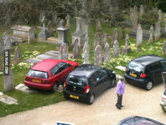 Some people think it's acceptable to park on top of graves