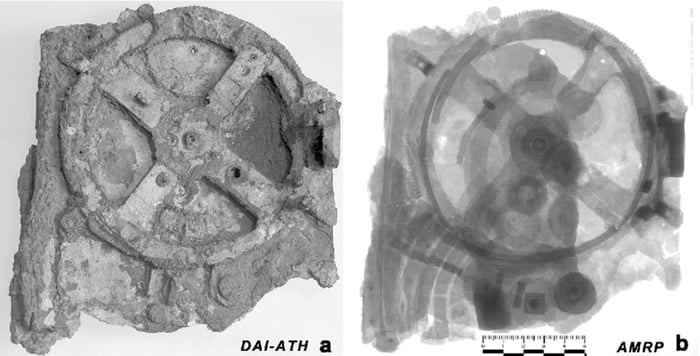 An X-Ray of the Greek Antikythera Mechanism, which shows the gears inside. It is the world's oldest analogue computer, made 2000+ years ago.