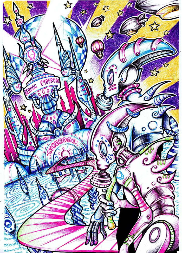 'Utopia' - Ballpoint Drawing I did for Cyberdog Clothing