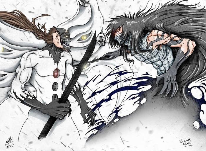Ichigo Final Getsuga Tenshou vs Aizen Final Hogyouku digital colour
