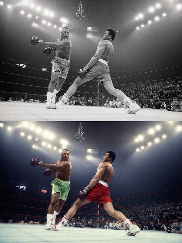 """After more than 5 hours of works, I finished this Colorization of """"The Fight of the Century"""" - Joe Frazier vs Muhammad Ali, 1971 - SAMIR BELHAMRA @Grafixart_photo"""