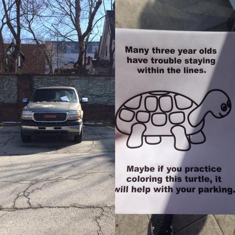 Park like an asshole, receive turtle.