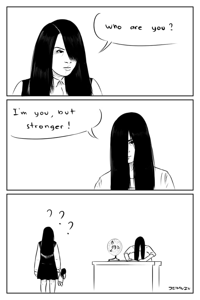 Sacred Rhiana meets Sacred Sadako. ( https://youtu.be/VkyMrhtt_rw ) You're welcome. *flies away*