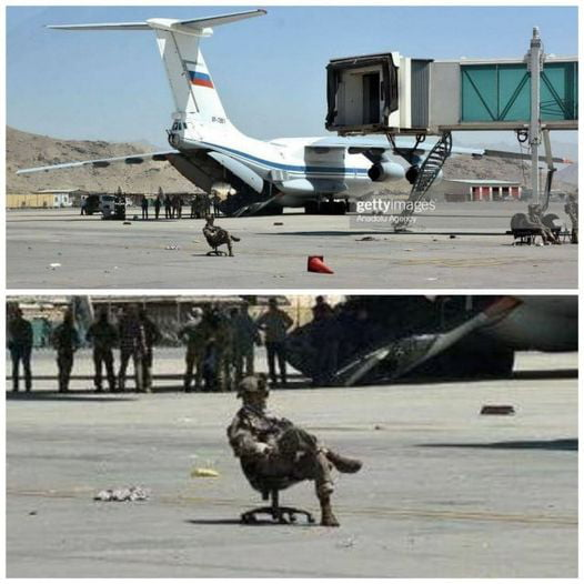 Massive Russian military force protecting their plane at Kabul airport