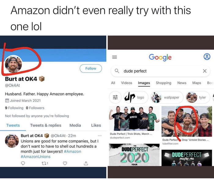 Amazon making blatantly fake Twitter ahead of the union vote to discourage workers from unionizing