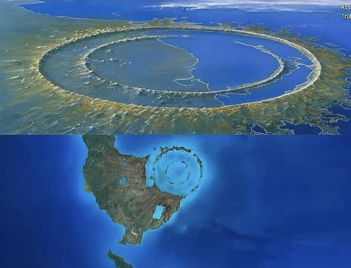 The site of impact from the asteroid that killed the dinosaurs 66 million years ago is called Chicxulub Crater. It has a diameter of 150 km and depth of 20 km.