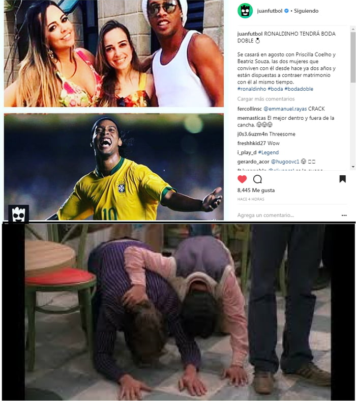 RONALDINHO WILL HAVE DOUBLE WEDDING He will marry in August with Priscilla Coelho and Beatriz Souza, the two women who have lived with him for two years and are willing to marry him at the same time.