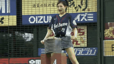 The real entertainment at Japanese baseball games