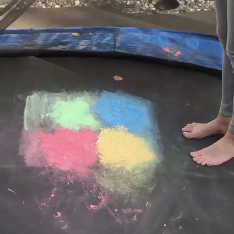 Rainbow powder on a trampoline