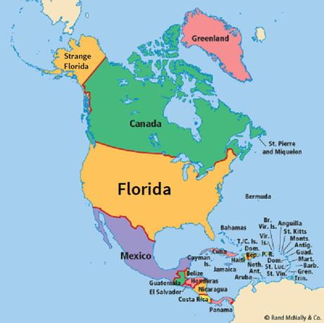 Political Map Of Florida A K A Murika A K A North America 9gag