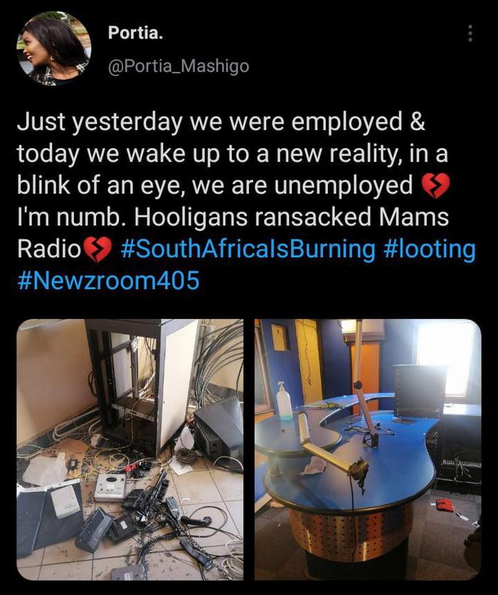 Looting in South Africa as radio station gets vandilised