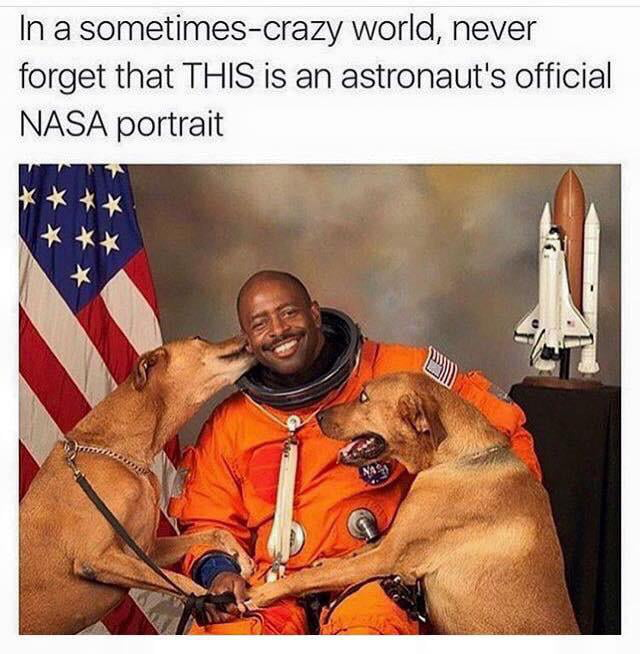 Former astronaut Leland Melvin posed for his official NASA photo with his two dogs