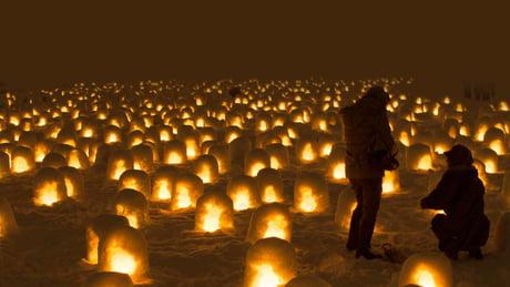 Ice lanterns in Japan