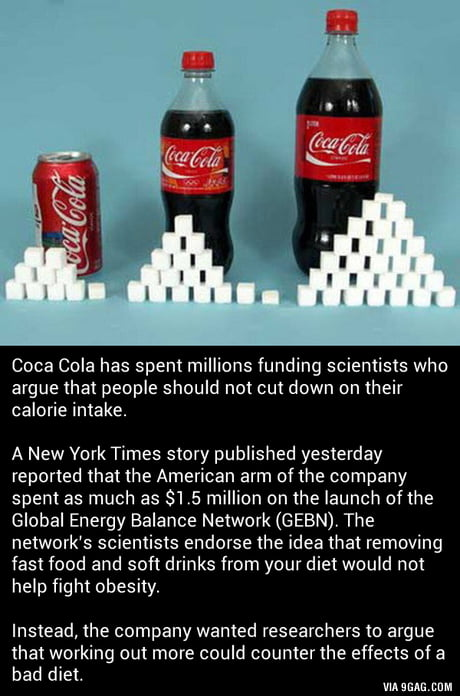 Coca Cola gave $1.5 million to scientists who say soft drinks don't cause obesity