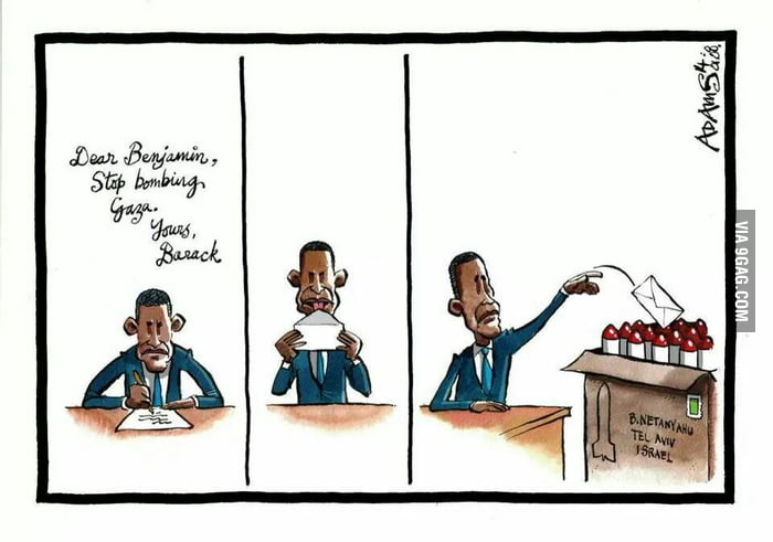 Dear Benjamin, Stop bombing Gaza, Love Obama